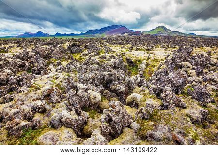 Lava fields in the central part of the island. Cloud Iceland in the summer