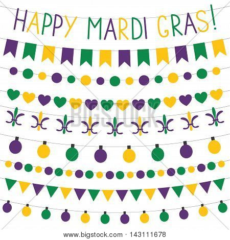 Mardi Gras bunting banners and decoration set
