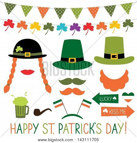 St. Patrick's Day colorful decoration and photo booth props