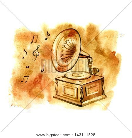 Watercolor gramophone. Musical vintage hand drawn illustration with notes.