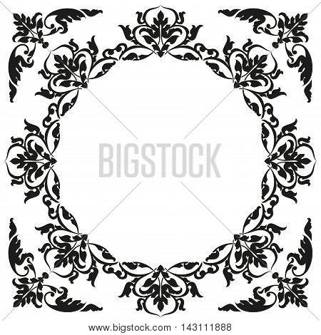 Asian style frame. Oriental background. Black ornament on a white bg.