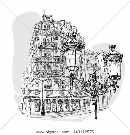 vector sketch boulevard in Paris with street cafes and lantern in the foreground