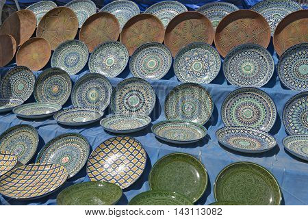 Oriental tableware and Uzbek Souvenirs are sold at the Central Bazaar in Tashkent.