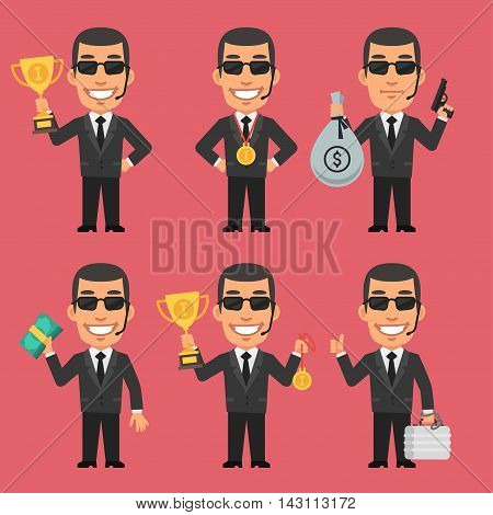 Vector Illustration, Security Guard Holding Cup Medal and Money, Format EPS 8