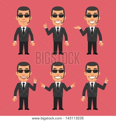 Vector Illustration, Security Guard Shows and Indicates, Format EPS 8