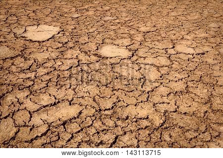 Dry weather cracked textured desert dirt land background