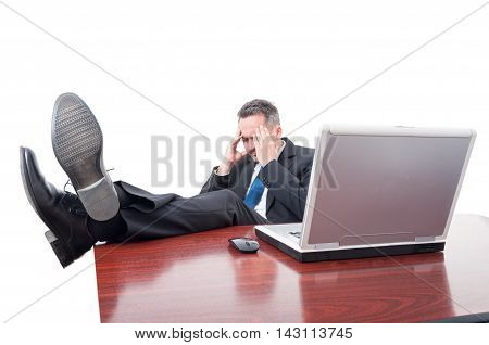 Stressed Executive Ceo Sitting In His Office