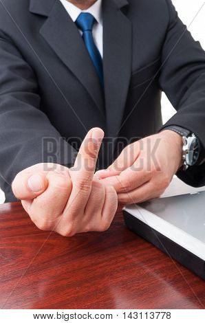 Business Man Doing Offensive Gesture In Closeup