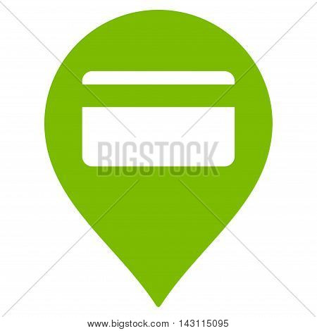 Credit Card Pointer icon. Vector style is flat iconic symbol with rounded angles, eco green color, white background.