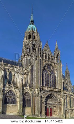 Bayeux Cathedral is a Norman-Romanesque cathedral located in the town of Bayeux France
