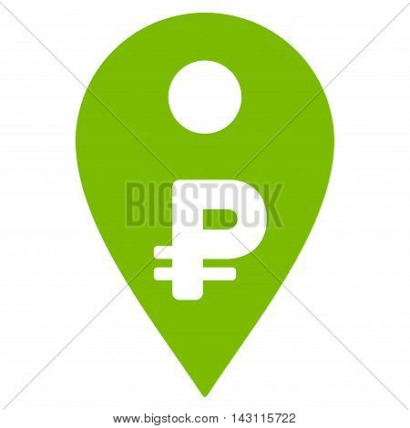 Rouble Map Marker icon. Vector style is flat iconic symbol with rounded angles, eco green color, white background.