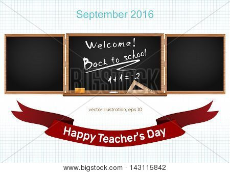 Three components chalkboard. Back to school. September 2016. Teacher's Day.  Vector illustration