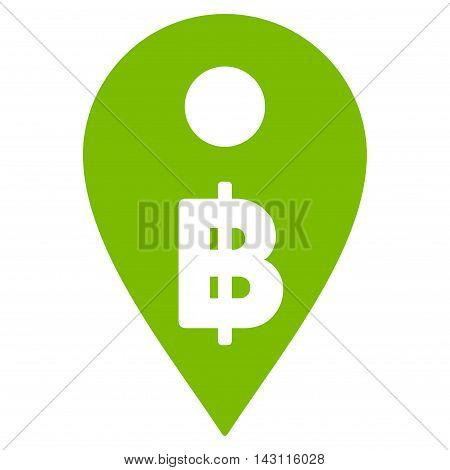 Thai Baht Map Marker icon. Vector style is flat iconic symbol with rounded angles, eco green color, white background.
