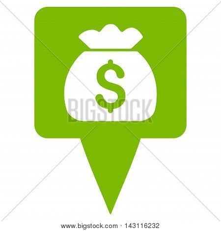 Treasure Map Pointer icon. Vector style is flat iconic symbol with rounded angles, eco green color, white background.