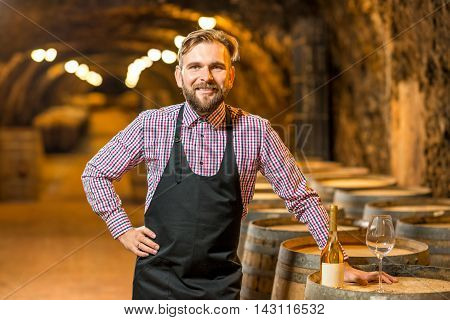 Portrait of a handsome sommelier in apron and checkered shirt standing in the old wine cellar. Maturing wine in oak barrels in underground natural cellar