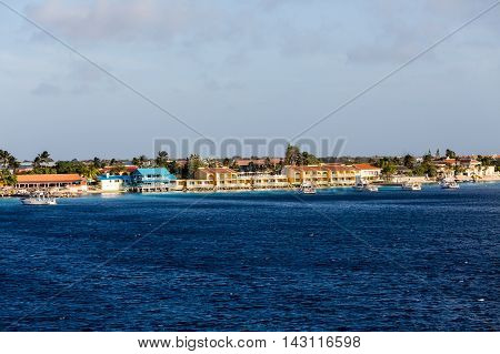 Colorful coastal condos on the waterfront of Bonaire