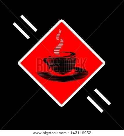 dark background and abstract image cup of tea or coffee consisting of lines in the red sign