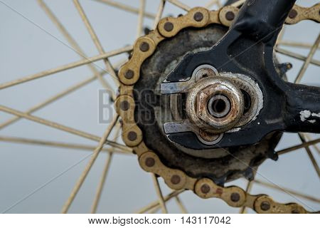 Old Chain of bicycle in wheel.(Selective focus)