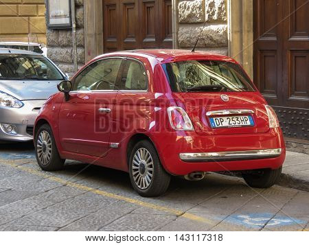 Red Fiat New 500 Car In Florence