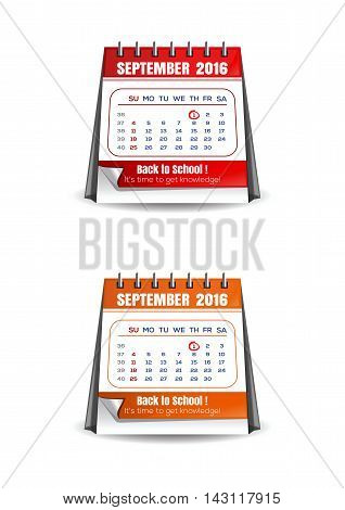Set colorful calendar for September 2016. Back to school! 1 st September - It's time to get knowledge. Vector illustration isolated on white background