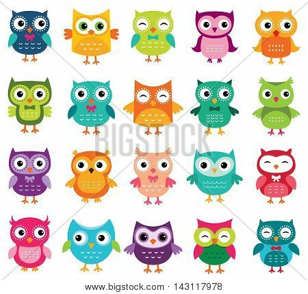 Cute cartoon owls in different colours, set of 20 owls