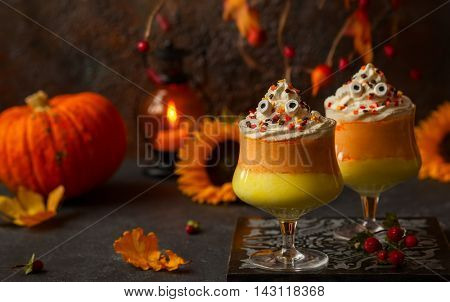 Candy corn parfait for Halloween