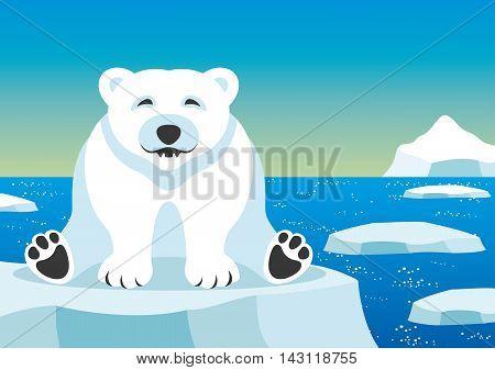 Cute polar bear at the North Pole.
