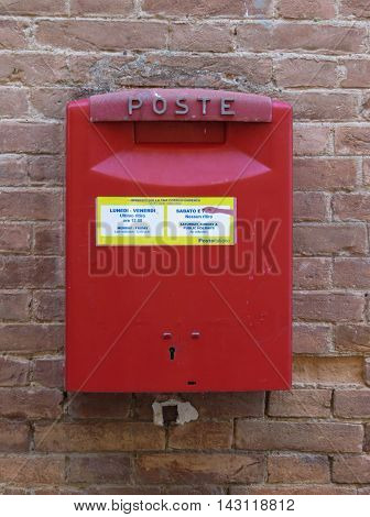 SIENA ITALY - CIRCA JULY 2016: Letter box mailbox for sending outgoing mail