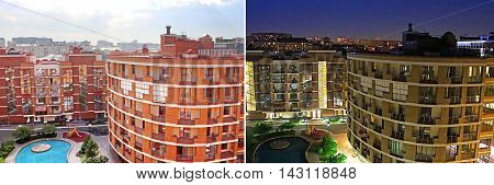 New building complex in Moscow, Russia (day and night)