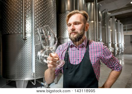 Handsome wine maker in working apron checking wine quality at the manufacturing with metal tanks for wine fermentation. Wine production at the modern manufacture