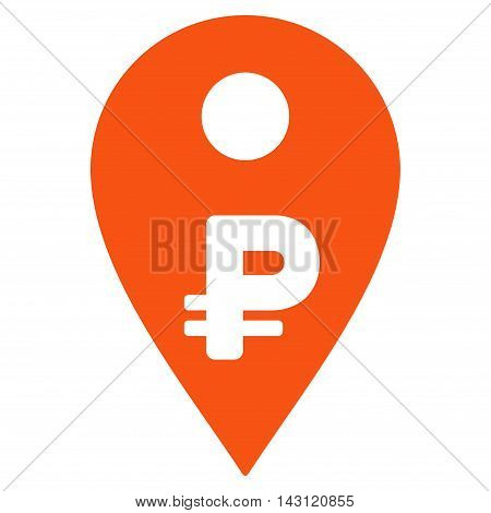 Rouble Map Marker icon. Vector style is flat iconic symbol with rounded angles, orange color, white background.