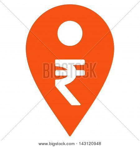 Rupee Map Marker icon. Vector style is flat iconic symbol with rounded angles, orange color, white background.