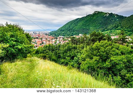 Brasov Romania. Brasov cityscape with Tampa Mountain on backround in Transylvania