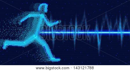 Sound waves oscillating glow, neon light. Electrocardiogram with man  Concept  abstract technology background , vector illustration