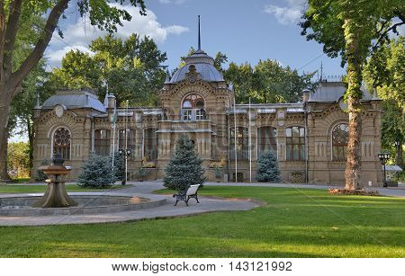 Tashkent, Uzbekistan - July 02, 2014: the Palace of the Romanovs in Tashkent was built in 1891 by architects V. S. Getselman and A. L. Benua for the Grand Duke who was banished to exile on the outskirts of the Empire in Turkestan.
