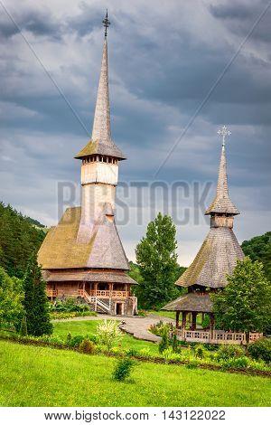 Barsana Romania - Wooden church of Barsana monastery. Maramures region Transylvania.