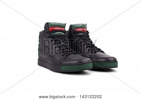 Pair Of New Black Leather High-top Sneakers, On White Background