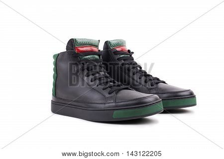Pair Of New Black Leather High-top Sneakers, Isolated On White