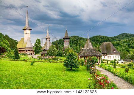 Maramures Romania. Wooden church of Barsana monastery Transylvania landmark.