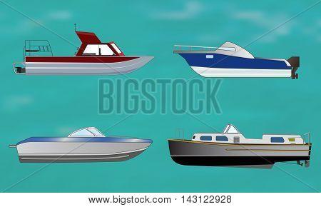Set of motor boat on sea background, vector illustration