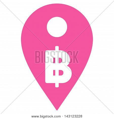 Thai Baht Map Marker icon. Vector style is flat iconic symbol with rounded angles, pink color, white background.