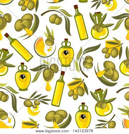 Green olives branches and olive oil seamless background. Wallpaper with vector patterns for kitchen decoration, tile, tablecloth. Greek, spanish, italian cuisine decoration