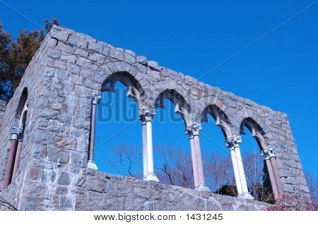 Hammond Castle Wall With Arches