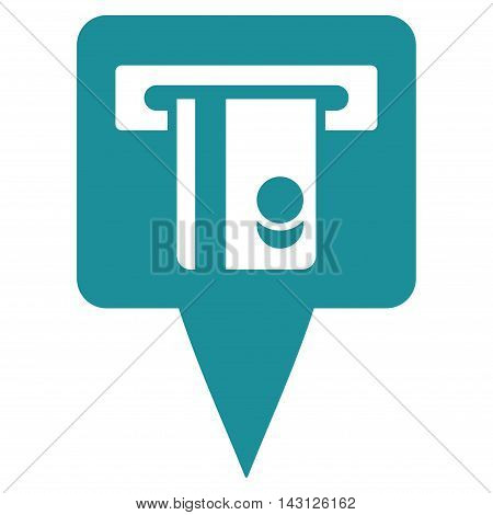 ATM Terminal Marker icon. Vector style is flat iconic symbol with rounded angles, soft blue color, white background.