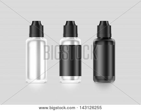 Blank black vape liquid bottle mockup isolated clipping path 3d illustration. Clear vapor juice flacon mock up template. Vaporizer dropper flavor vial presentation. E-cigarette aroma liquid design.