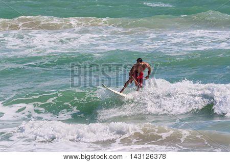 Miami USA - November 26 2011: A male athlete surfer rides a wave near the Miami shoreline.