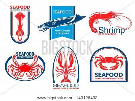 Seafood products emblems. Vector icons for product, company, restaurant label. Silhouettes of lobster, shrimp, squid, crab fish