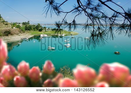 spring time lake and boats in Adana, Turkey