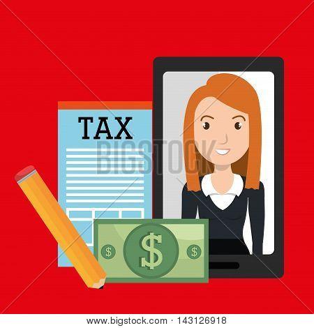 woman smartphone tax dollar vector illustration eps 10