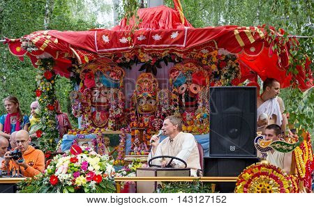 Moscow Russia - August 14 2016: Independence Day of India Celebration. Ratha Yatra. Chariot with deities: Jagannath Balarama and Subhadra.